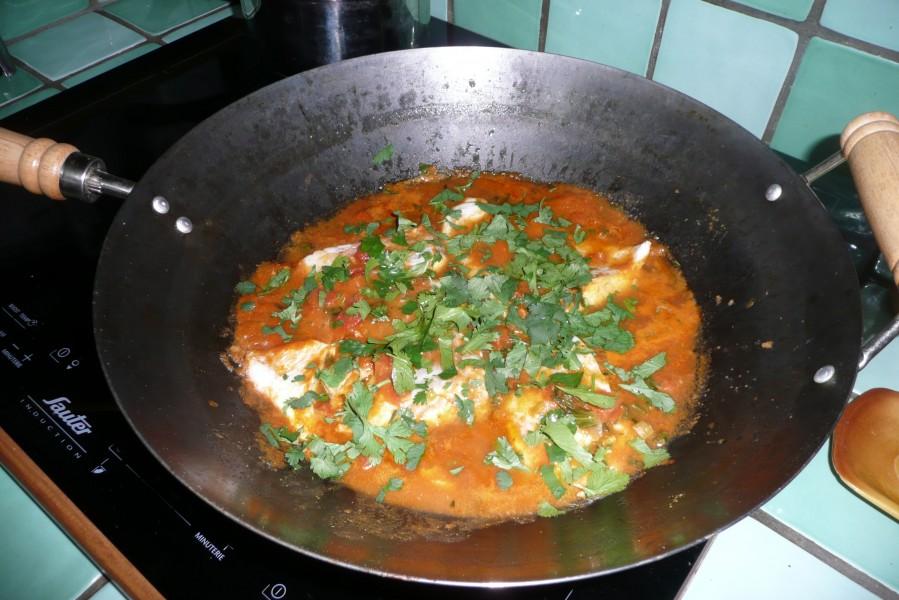 Curry de cabillaud au wok