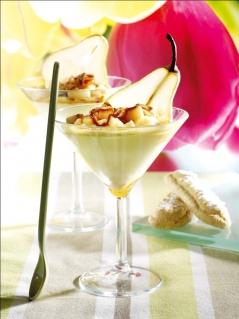 Mousse de Reblochon, poire & caramel au beurre salé