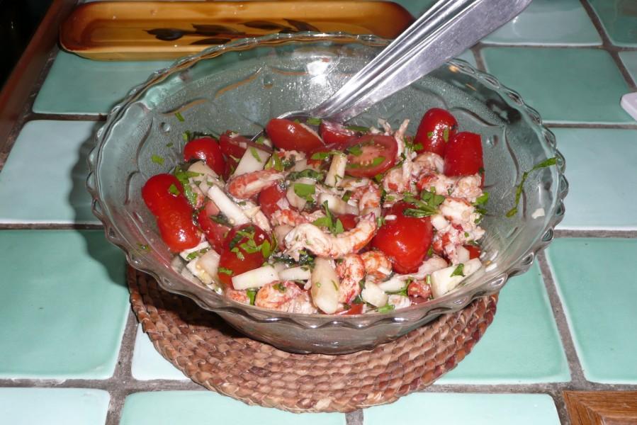 Salade de tomates cerise aux écrevisses