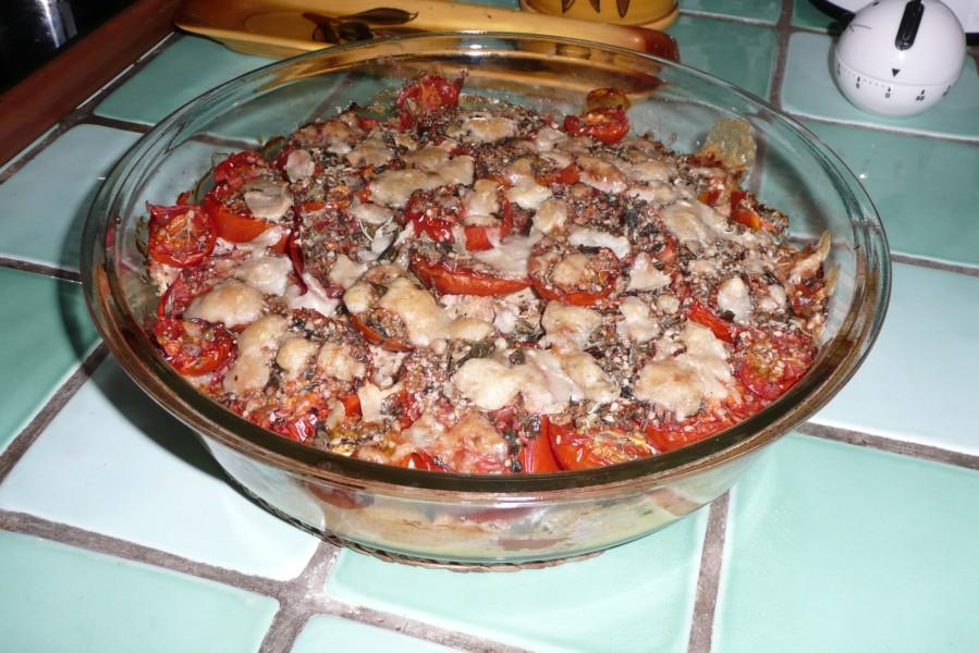 Gratin de tomates au thon et au parmesan