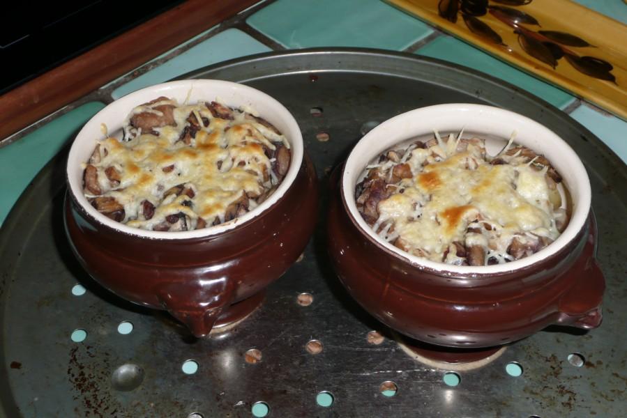 Pleurotes grises, pommes de terre et châtaignes