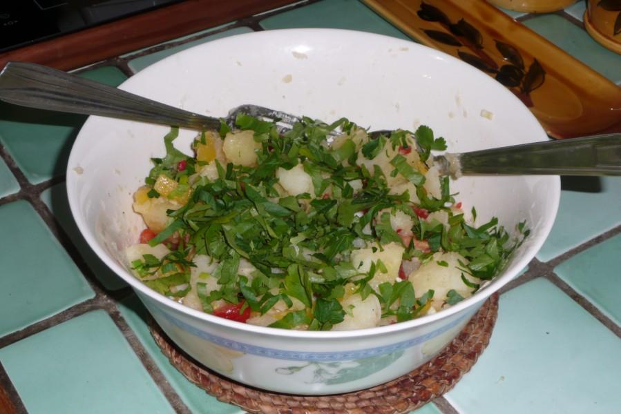 Salade tiède de pommes de terre au piment