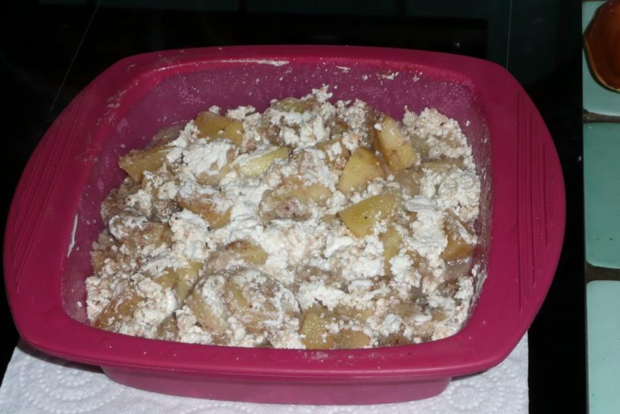 Pommes et bananes au yaourt en papillote
