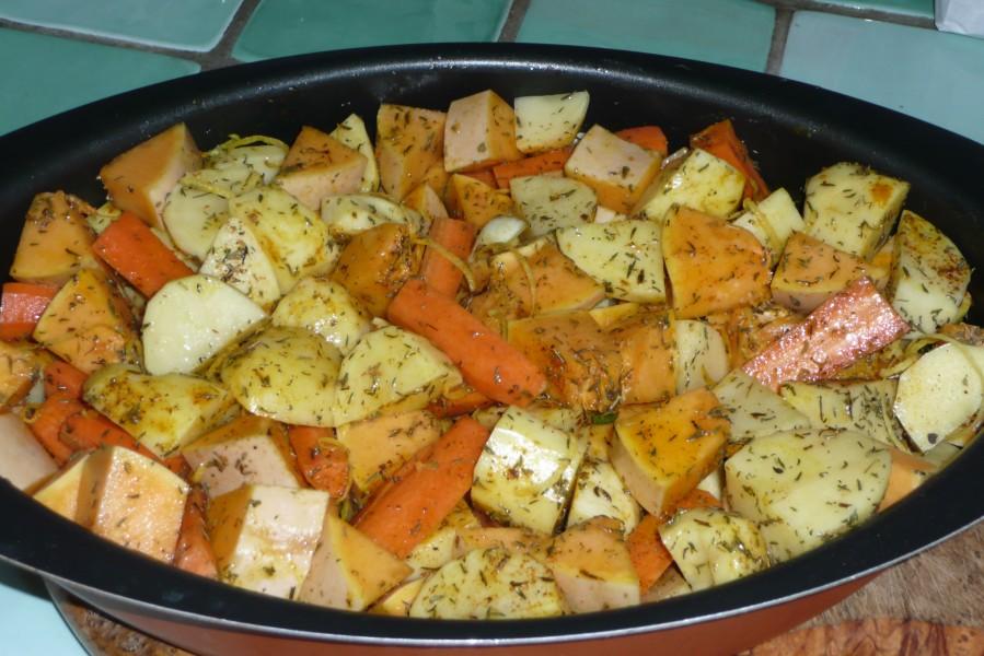 Mêlée de légumes au four