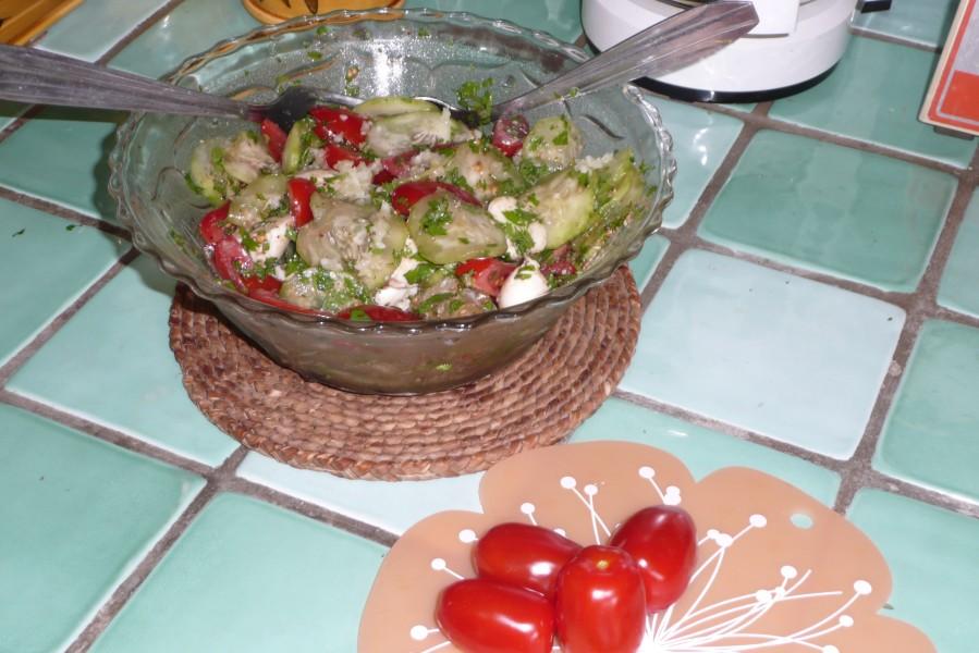Salade concombre, tomate et mozzarella