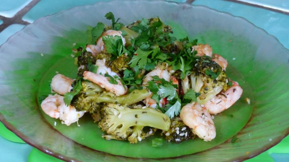 Poêlée de crevettes aux brocolis