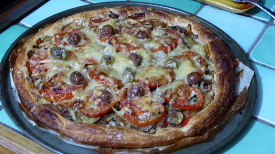 Pizza tomates et courgettes