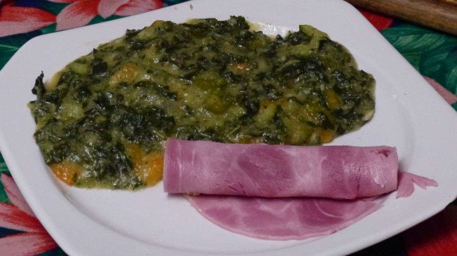Chou kalé à la polenta et aux orties