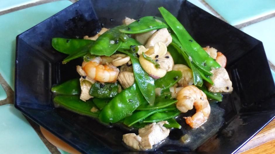 Pois mangetout sautés au wok