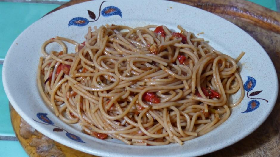 Spaghettis sauce aux poivrons