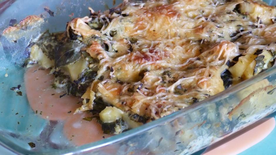 Gratin de pommes de terre, tétragone et ortie