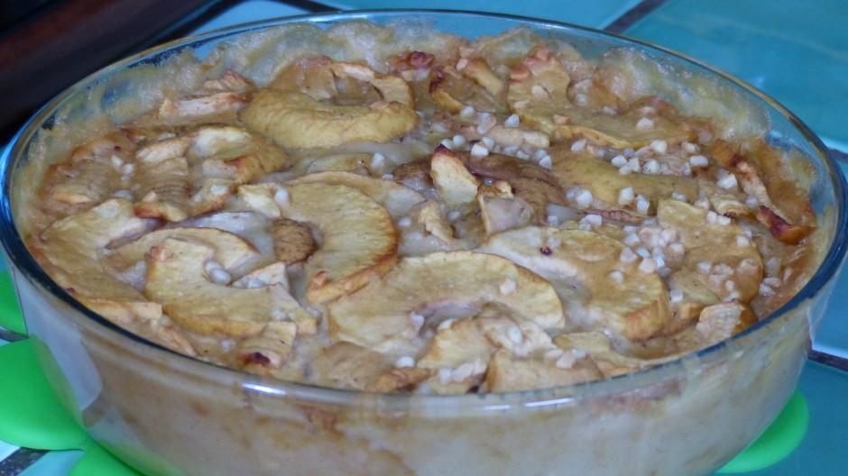 Clafoutis pommes bananes à la farine de lupin