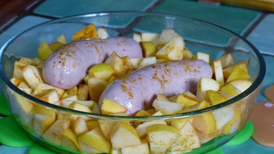 Boudin blanc au four et aux pommes