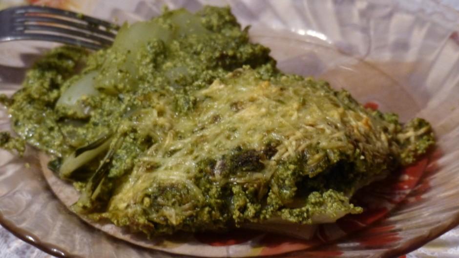 Gratin de côtes de blettes au tofu au curry