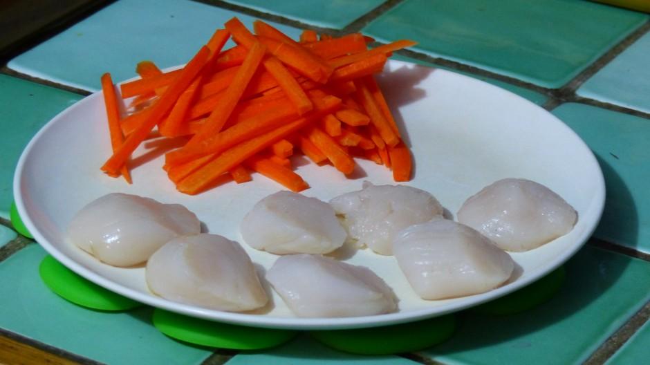 Noix de Saint-Jacques poêlée et julienne de carotte