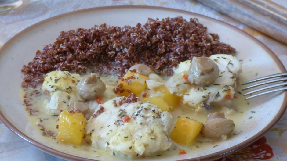 Filet de lotte à la mangue et au quinoa rouge