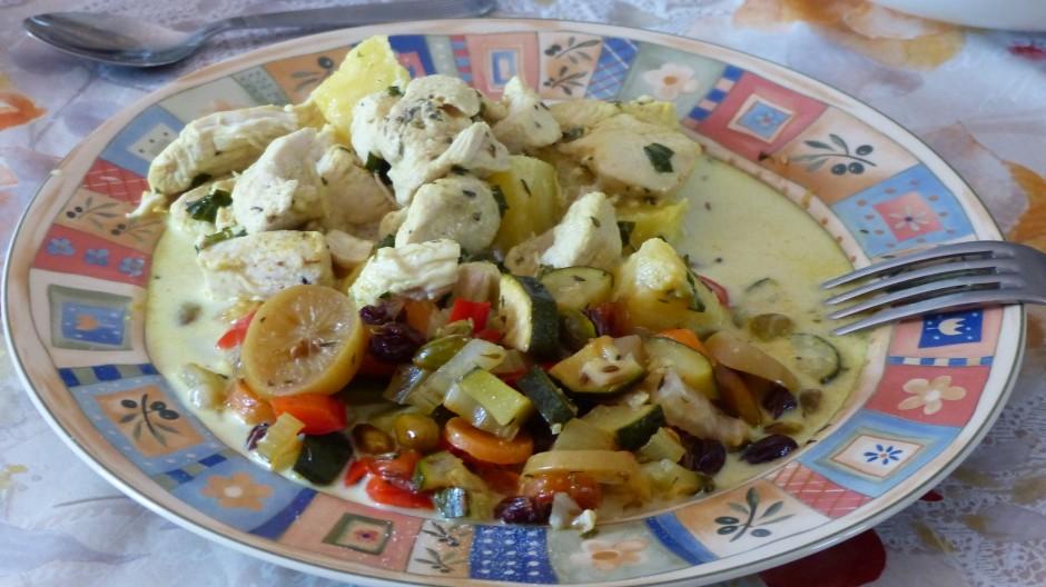 Filet de dinde à l'ananas et sa poêlée de légumes