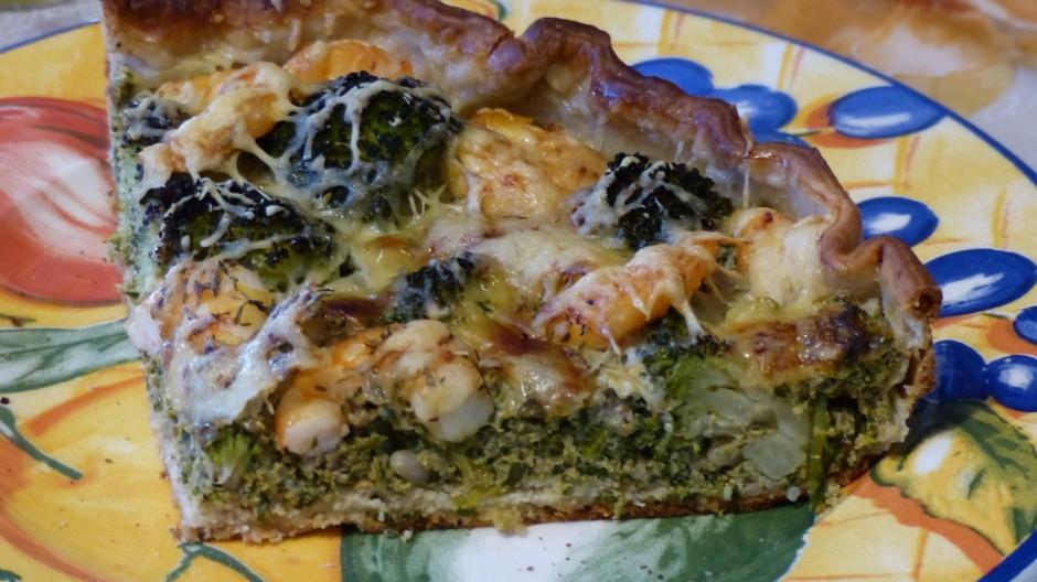 Quiche orties, brocoli et crevettes au tofu