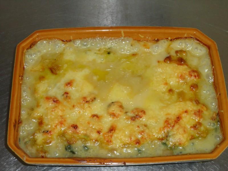 Gratin d'épinard pommes de terre et champignons