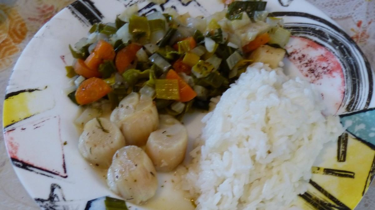 Noix de St-Jacques à la fondue de légumes